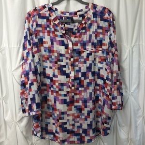 NYDJ Mosaic Half Button Up Blouse